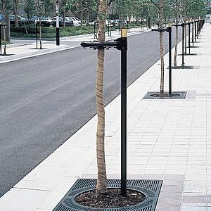 街路樹用金属支柱・地下式支柱