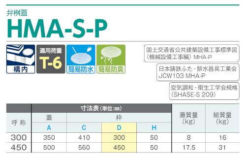 弁桝蓋 HMA-S-P450(MHA-P450) / 上水道用蓋