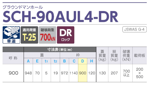 SCH-90AUL4-DR / グラウンドマンホール