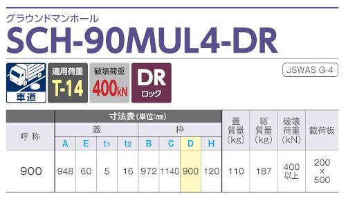 SCH-90MUL4-DR / グラウンドマンホール