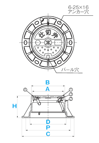 円形1号・円形2号鉄蓋(ハット式) / 上水道用蓋