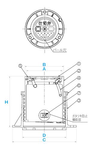 ねじ式弁筐C型1号・C型2号 / 上水道用蓋